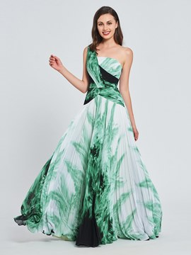 Ericdress A Line One Shoulder Pleats Print Prom Dress