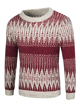 Ericdress Floral Patchwork Scoop Mens Casual Pullover Sweaters