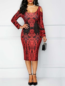 Ericdress Bodycon Floral Print Long Sleeves Women's Dress