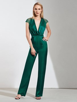 Ericdress Sheath Cap Sleeve V Neck Prom Jumpsuit