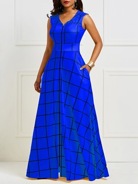 Ericdress Blue Plaid Notched Lapel Pocket Maxi Dress