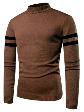 Ericdress Patchwork Mock Neck Slim Warm Mens Pullover Sweaters