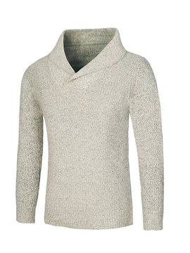 Ericdress Plain Lapel Puulover Mens Casual Sweaters