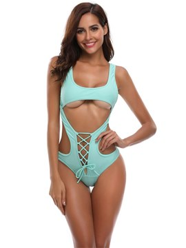Ericdress Hollow Plain Bikini