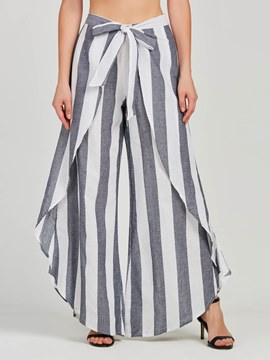 Ericdress Striped Asymmetric Wide-Legs Women's Pants