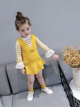 Ericdress Beading Bowknot Stringy Selvedge Striped Girl's Outfits