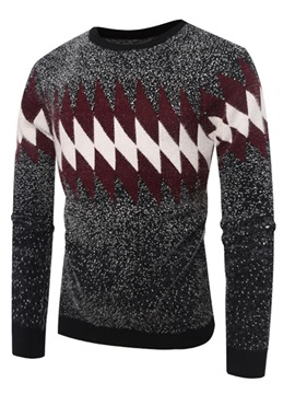 Ericdress Patchwork Color Block Slim Mens Scoop Pullover Sweaters