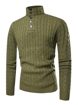 Ericdress Plain Slim Quarter Zip Mens Casual Pullover Sweaters
