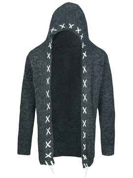 Ericdress Plain Hooded Lace Up Mens Casual Cardigan Sweaters