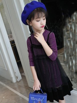 Ericdress Mesh Patchwork Stringy Selvedge Girl's Casual Ball Dress