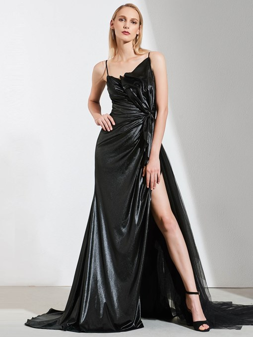 Ericdress A Line Spaghetti Straps Split Front Black Evening Dress