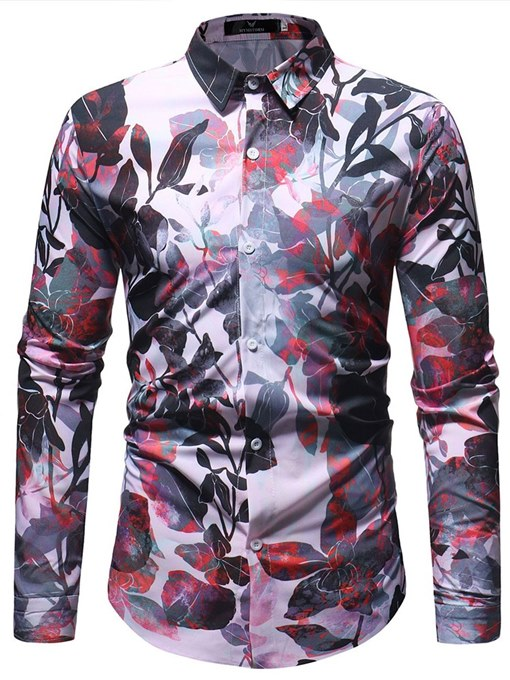 Ericdress Lapel Floral Print Slim Button Up Mens Casual Shirts