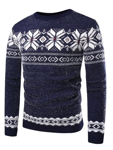 Ericdress Geometrci Patchwork Pullover Mens Casual Warm Sweaters