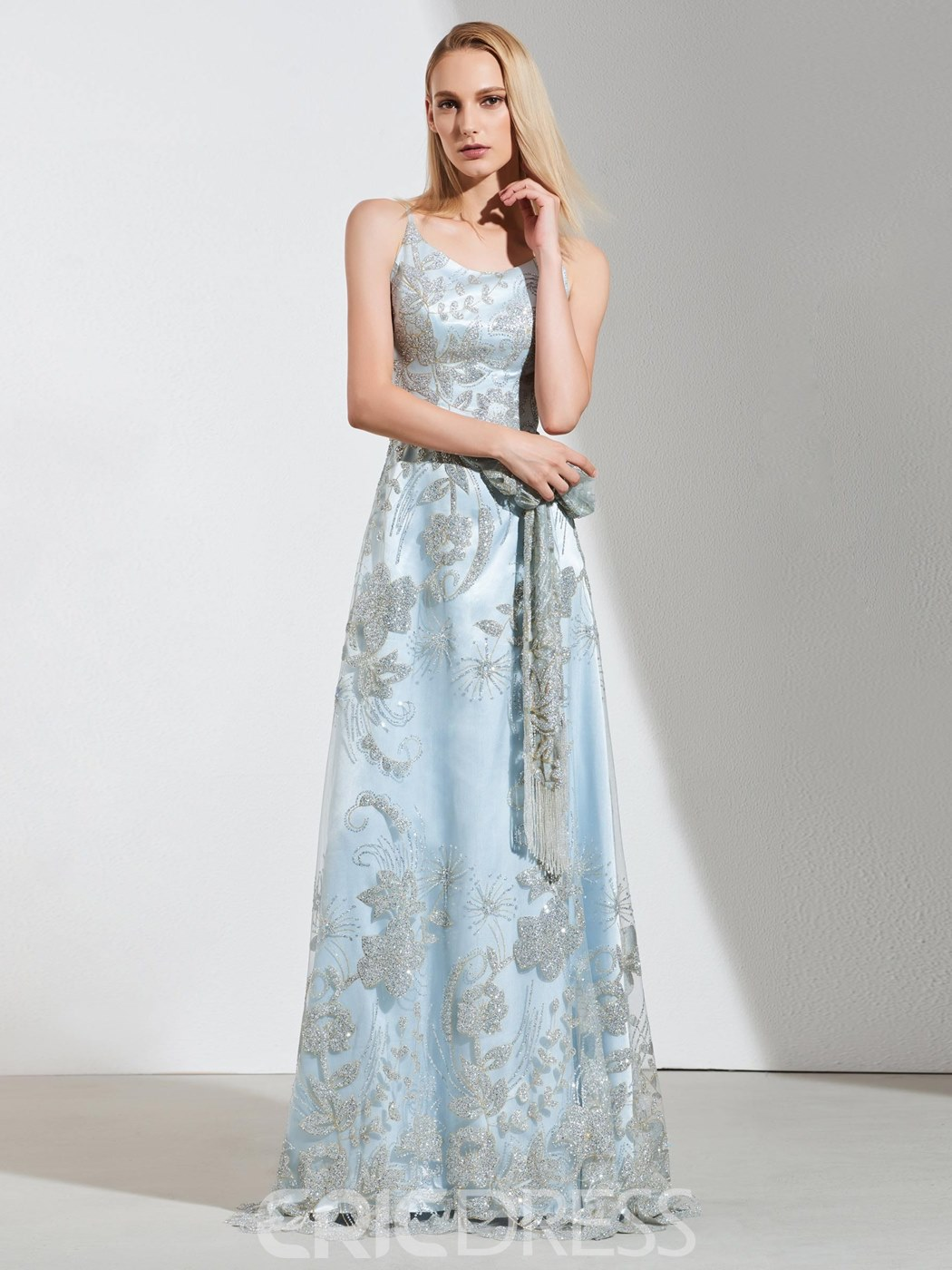 Ericdress A Line Spaghetti Straps Lace Floor Length Prom Dress