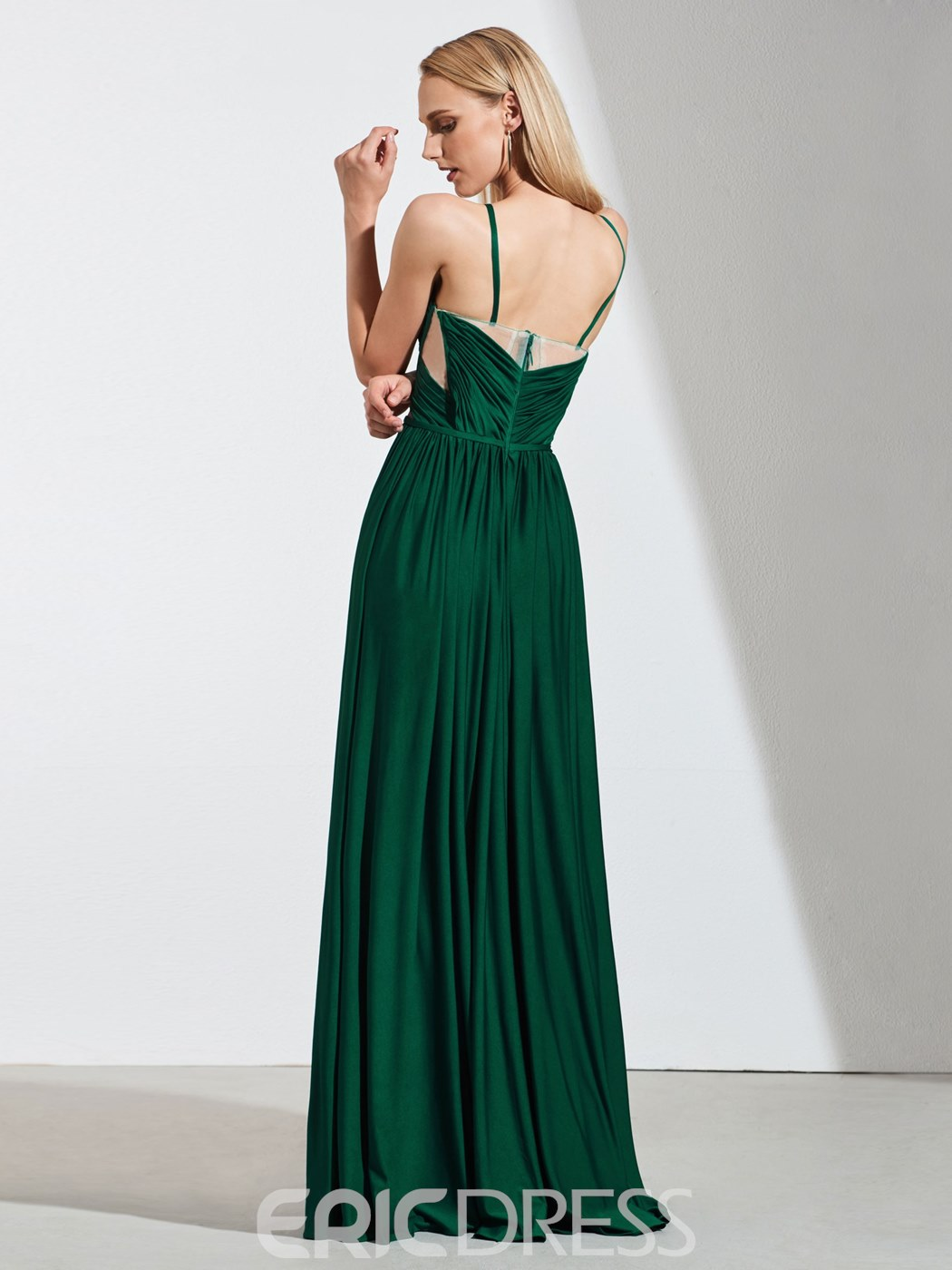 Ericdress A Line Spaghetti Straps Pleats Side Split Evening Dress