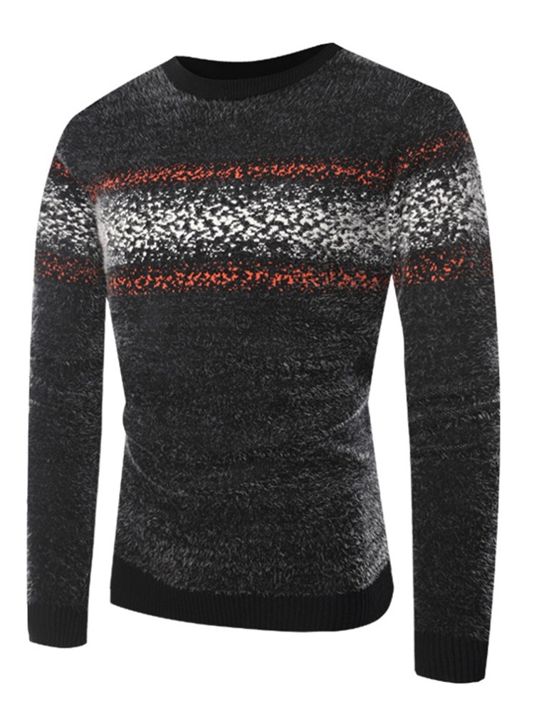 Ericdress Patchwork Slim Pullover Mens Casual Sweaters