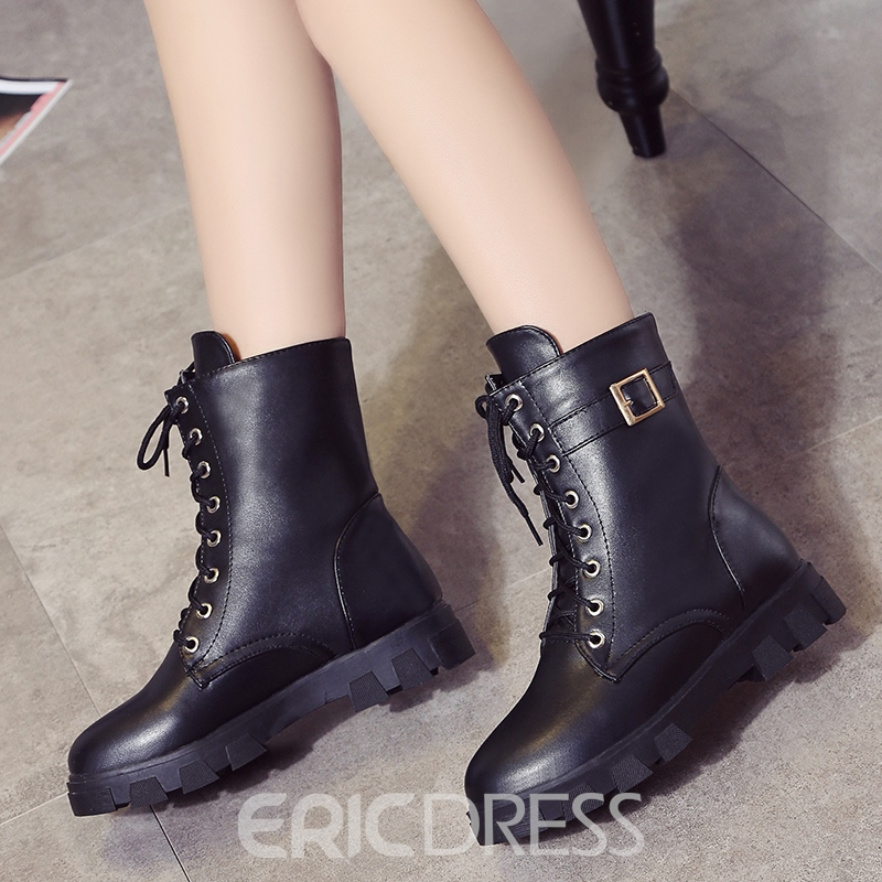 Ericdress Lace-Up Front Block Heel Women's Ankle Boots