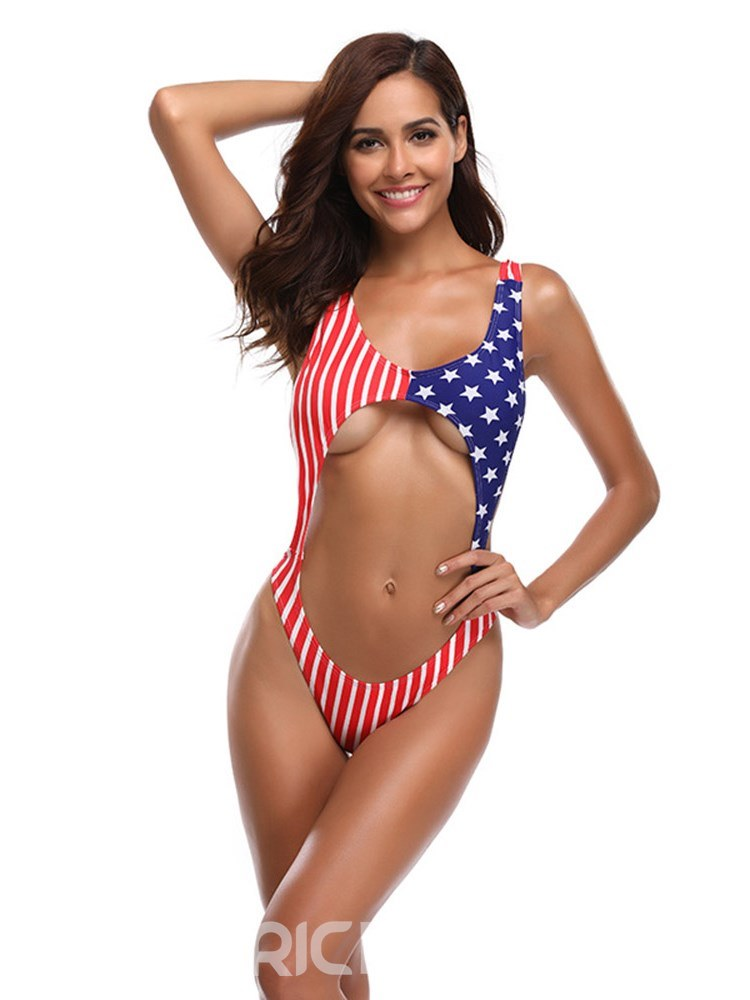 Ericderss European Flag pattern Color Block Sexy Bikini