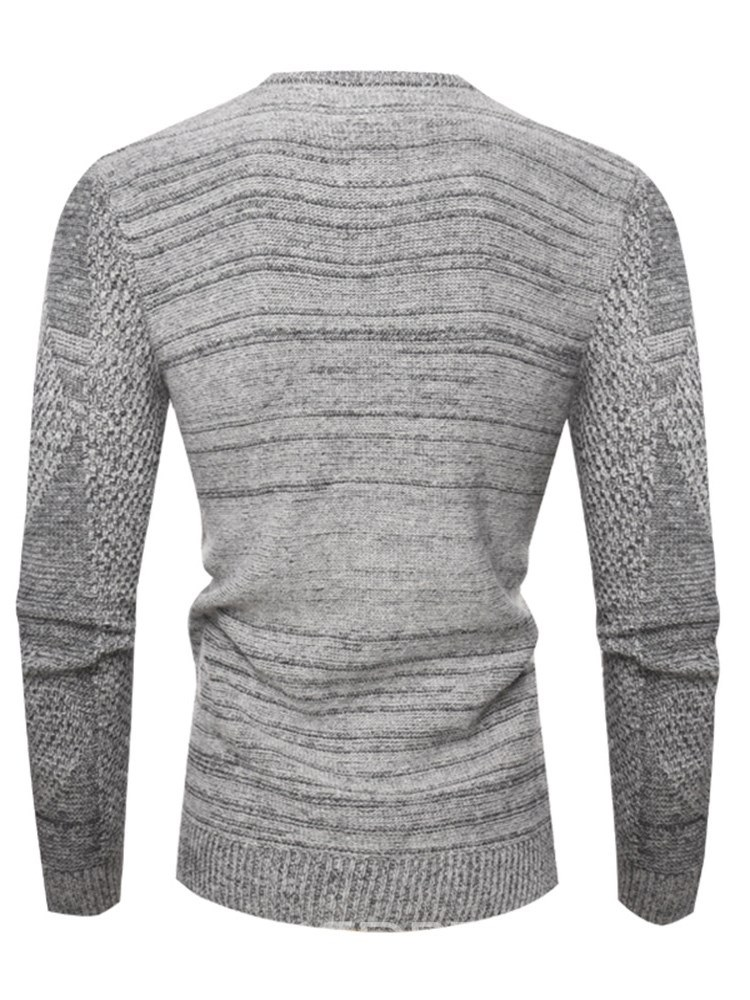 Ericdress Plain Slim Scoop Mens Casual Pullover Cable Sweaters