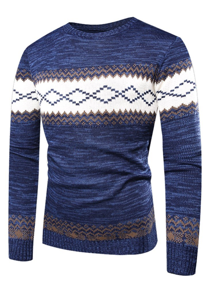 Ericdress Patchwork Slim Scoop Color Block Mens Casual Sweaters