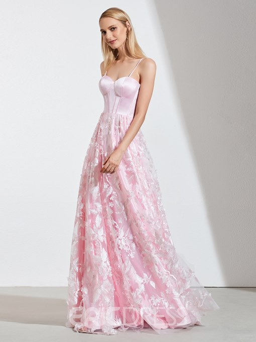 Ericdress A Line Spaghetti Straps Pink Lace Prom Dress