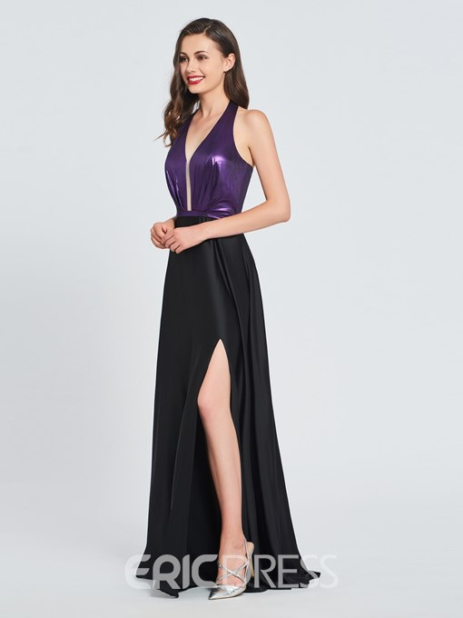 Ericdress A Line Halter Side Slit Long Prom Dress