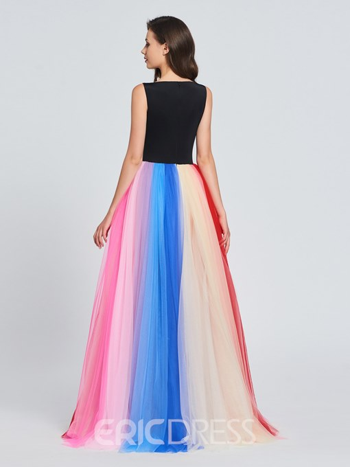 Ericdress A Line Color Block Long Prom Dress