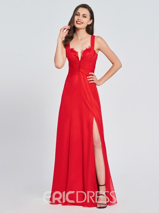 Ericdress A Line Straps Side Slit Backless Prom Dress