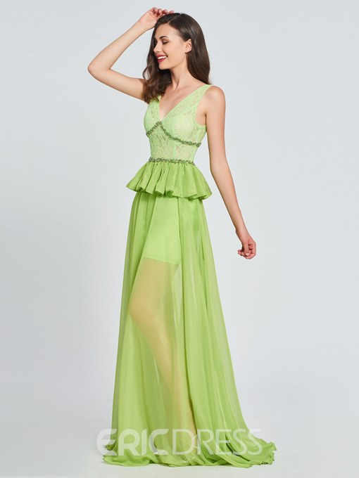 Ericdress V-Neck Lace Beading A-Line Prom Dress