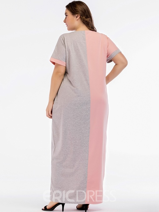 Ericdress Plus Size Pocket Ankle-Length Round Neck Straight Color Block Dress