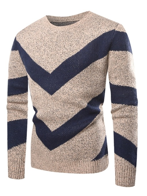 Ericdress Patchwork Scoop Striped Mens Casual Pullover Sweaters