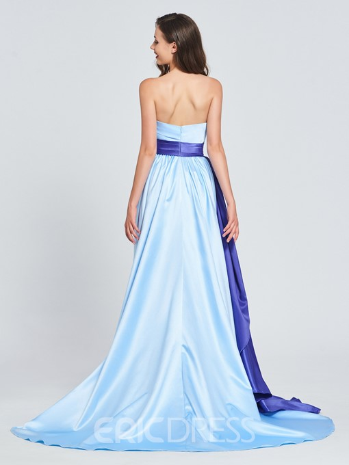 Ericdress A Line Strapless Ruffles Sashes Prom Dress