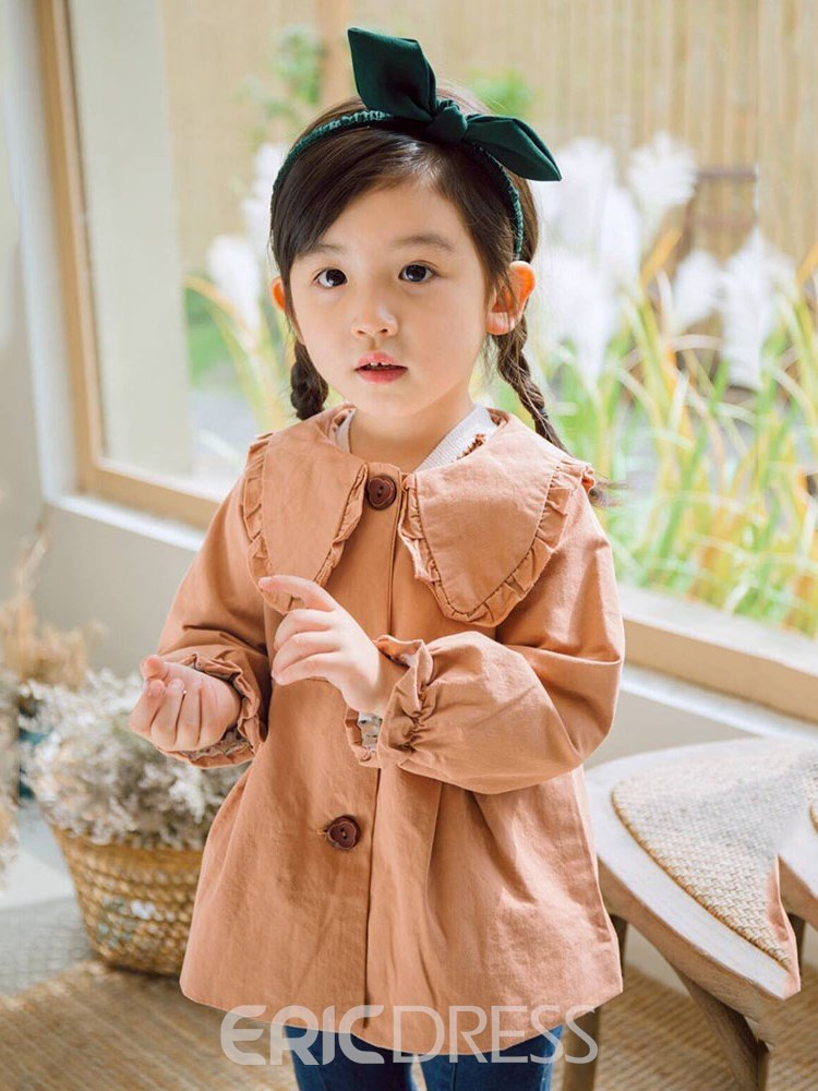 Ericdress Pleated Peter Pan Collar Flare Sleeve Girl's Trench Coat