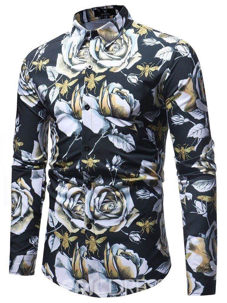 Ericdress Floral Print Long Sleeve Button Up Mens Casual Shirts