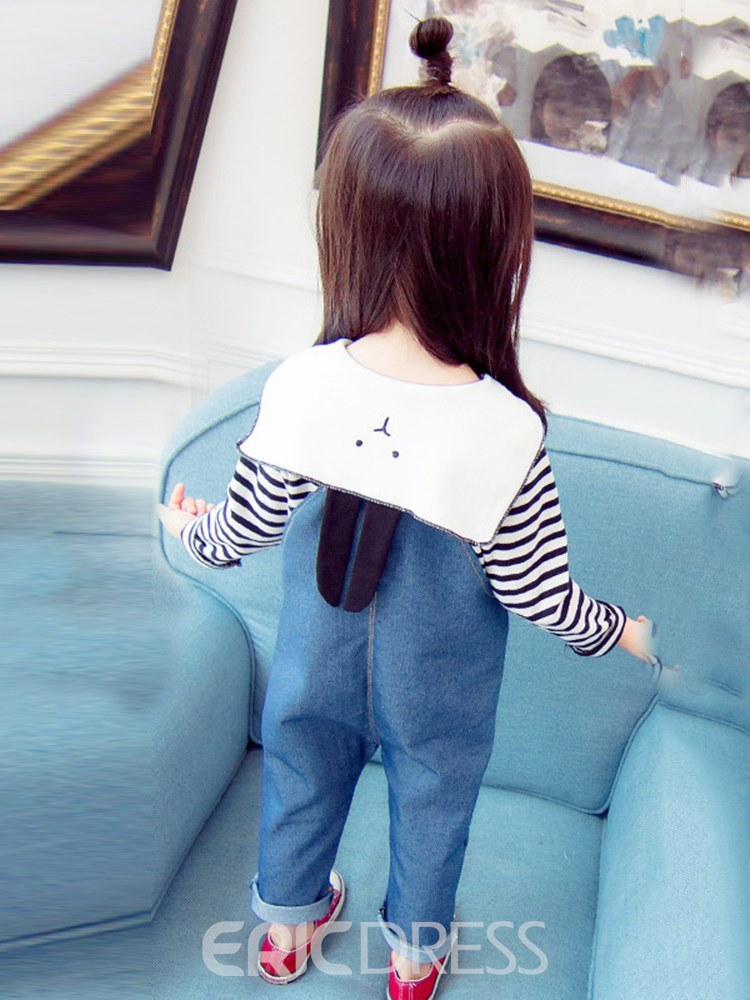 Ericdress Striped Lace Up T Shirts & Suspenders Baby Girl's Casual Outfits