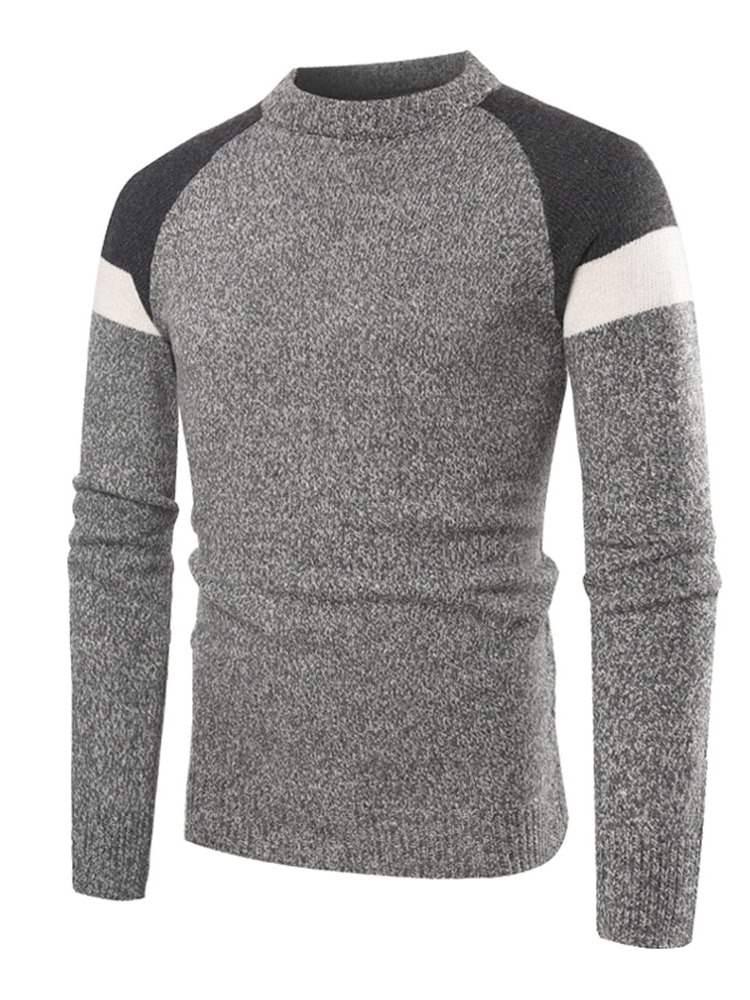 Ericdress Patchwork Color Block Casual Mens Pullover Sweaters