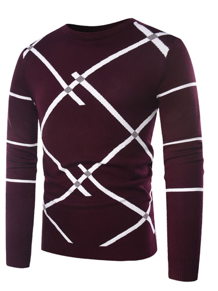 Ericdress Striped Color Block Patchwork Mens Slim Casual Sweaters