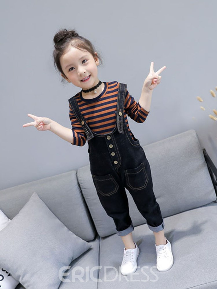 Ericdress Striped T Shirts & Plain Suspenders Girl's Casual Outfits