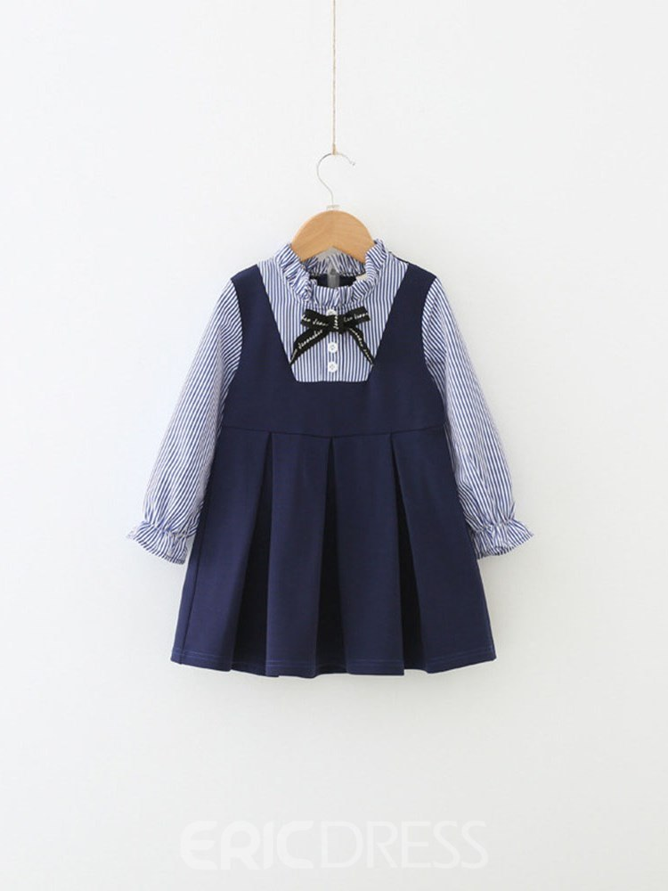 Ericdress Striped Pleated Patchwork A-Line Girl's Casual Dress
