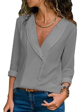 Ericdress Loose Plain Button-Down Long Sleeve Blouse