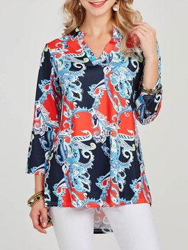 Ericdress Print V-Neck Floral Loose Long Sleeve T-shirt