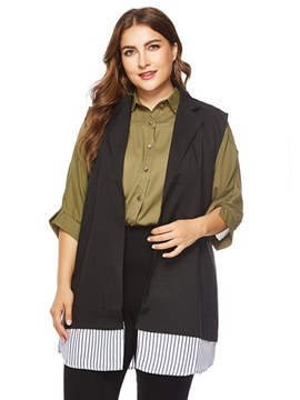 Ericdress Wrapped Patchwork Plus-Size Stripe Trench Coat
