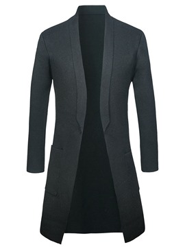 Ericdress Plain Lapel Mid-Length Mens Casual Cardigan