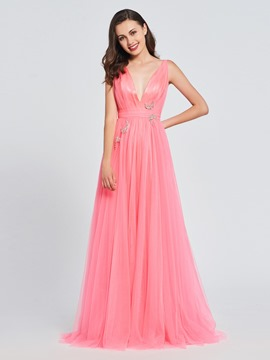 Ericdress A-Line V-Neck Beading Pleats Prom Dress