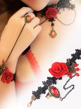 Ericdress Sexy Accessories Rose Bracelet with Crystal Ring