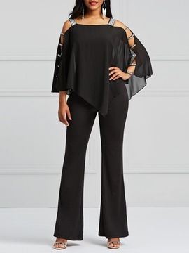 Ericdress Asymmetric Cold Shoulder Batwing Sleeve Women's Jumpsuits