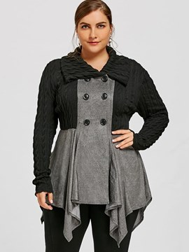 Ericdress Double-Breasted Plus-Size Color Block Jacket