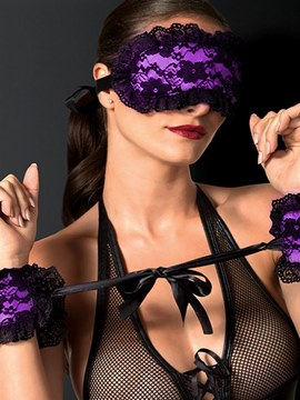 Ericdress Lace Sexy Blindfold and Wrist Restraints Handcuffs 3 Pieces