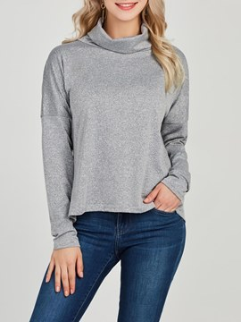 Ericdress High Neck Plain Long Sleeve T-shirt