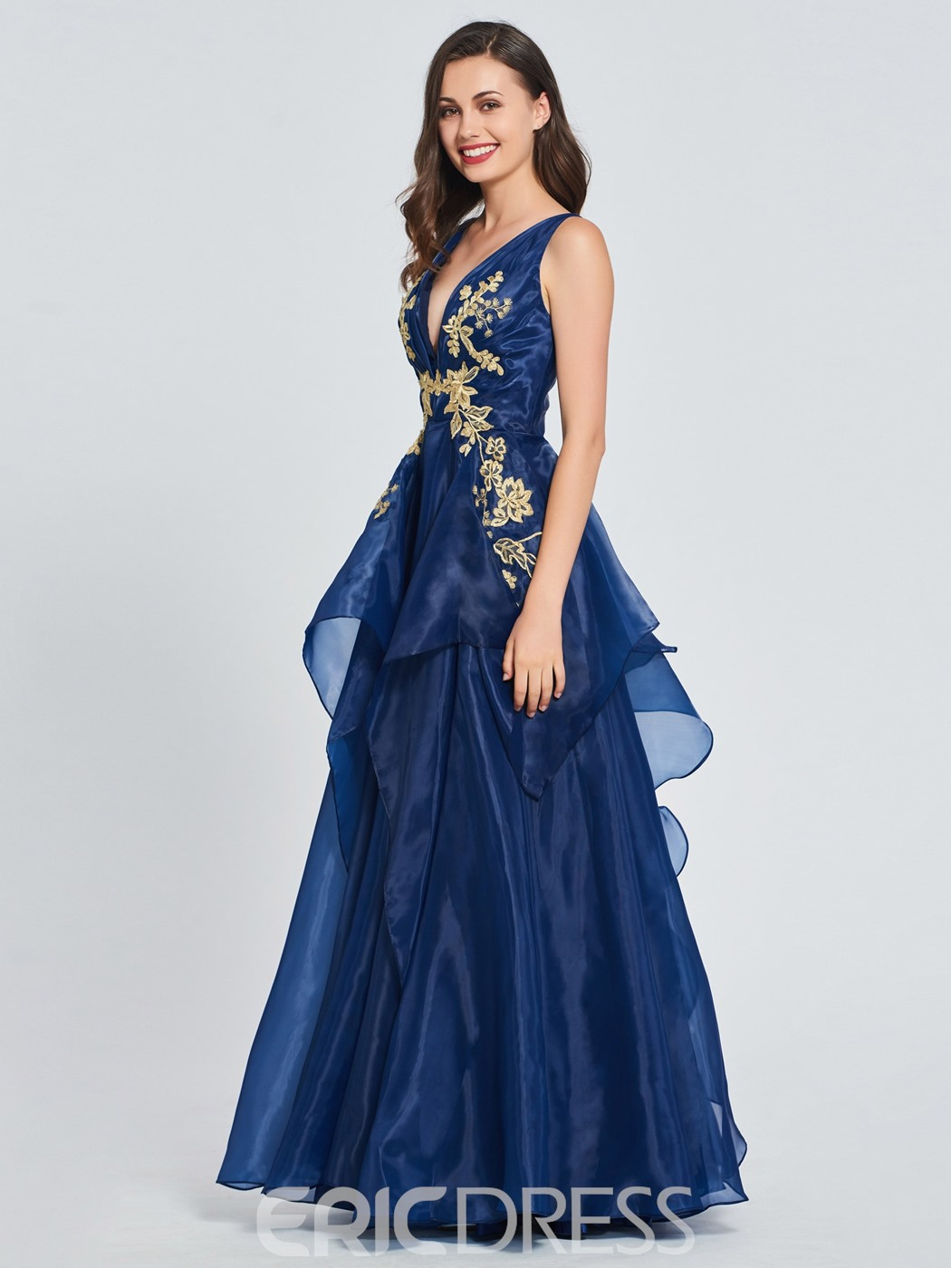 Ericdress V-Neck Appliques A-Line Prom Dress